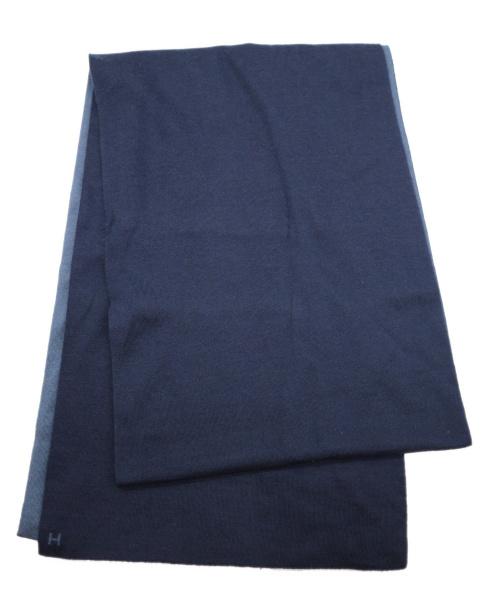HERMES(エルメス)HERMES (エルメス) ニットマフラー ブルー×ネイビー アレ・ルトゥールの古着・服飾アイテム