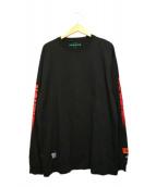 HERON PRESTON(ヘロンプレストン)の古着「袖スリーブカットソー」|ブラック