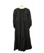 THE SHINZONE(ザ シンゾーン)の古着「リネンティアードドレス」|ブラック