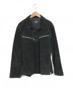 HORN WORKS(ホーンワークス)の古着「レザープルオーバージャケット」|ブラック