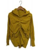 me ISSEY MIYAKE(ミーイッセイミヤケ)の古着「シワ加工フーデッドシャツ」|イエロー