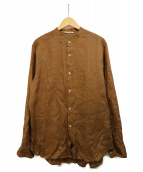 AURALEE(オーラリー)の古着「ラミーバンドカラーシャツ」|ブラウン