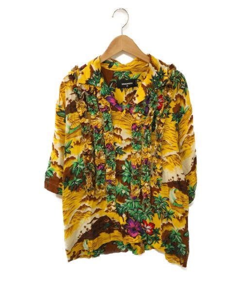 DSQUARED2(ディースクエアード)DSQUARED2 (ディースクエアード) オープンカラーフリルシャツ イエロー サイズ:36の古着・服飾アイテム