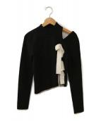 eimy istoire(エイミー イストワール)の古着「リボンデザインチュールコンビニットワンピース」|ブラック