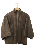 RICK OWENS(リックオウエンス)の古着「変形レザージャケット」 オリーブ