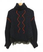 SELF PORTRAIT(セルフ ポートレイト)の古着「Knit and Lace Trim Jumper」|ネイビー