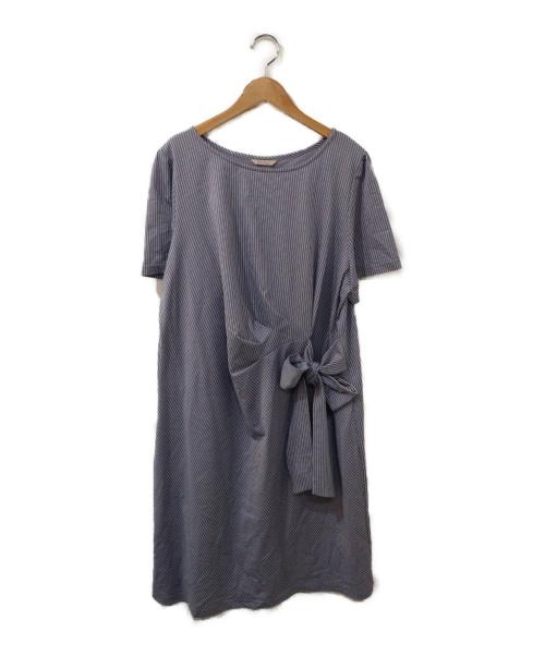 Rose Tiara(ローズティアラ)Rose Tiara (ローズティアラ) ストライプワンピース スカイブルー サイズ:46の古着・服飾アイテム