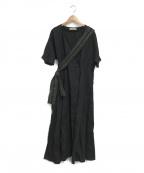 sara mallika(サラマリカ)の古着「刺繍ベルトカシュクールワンピース」|ブラック
