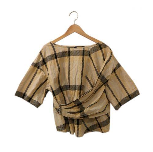 5-knot(ファイブノット)5-knot (ファイブノット) デザインチェックブラウス ベージュ サイズ:Fの古着・服飾アイテム