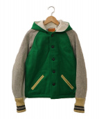 skookum(スクーカム)の古着「フード付きスタジャン」|グリーン×グレー