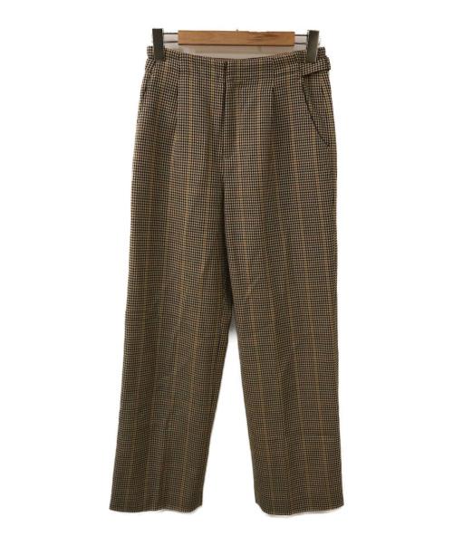 VERMEIL par iena(ヴェルメイユパーイエナ)VERMEIL par iena (ヴェルメイユ パーイエナ) Wクレープチェックパンツ ベージュ サイズ:38の古着・服飾アイテム