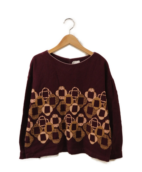 mina perhonen(ミナ ペルホネン)mina perhonen (ミナペルホネン) 刺繍ブラウス パープル サイズ:36 veronicaの古着・服飾アイテム