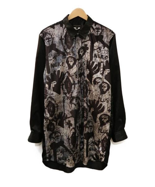 COMME des GARCONS HommePlus(コムデギャルソン オムプリュス)COMME des GARCONS HommePlus (コムデギャルソンオムプリュス) 総柄コラボシャツ ブラック サイズ:S Jonathan Meese AD2019 PD-B037の古着・服飾アイテム