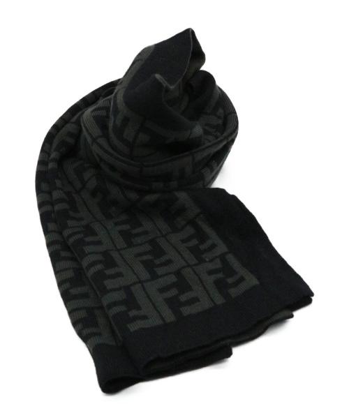 FENDI(フェンディ)FENDI (フェンディ) マフラー ブラック ズッカ柄の古着・服飾アイテム