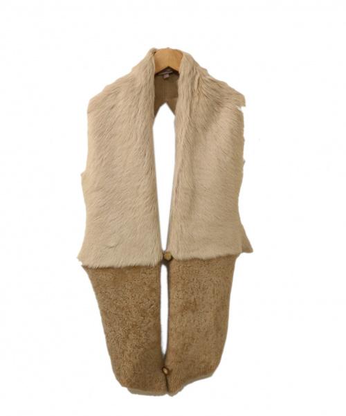 GUSHLOW&COLE(ガシュロウ&コール)GUSHLOW&COLE (ガシュロウ&コール) マフラー ベージュ ファー レザー の古着・服飾アイテム