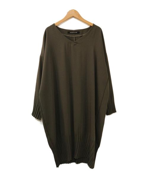 mizuiro-ind(ミズイロインド)mizuiro-ind (ミズイロインド) プリーツヘム ワンピース オリーブ サイズ:表記なしの古着・服飾アイテム