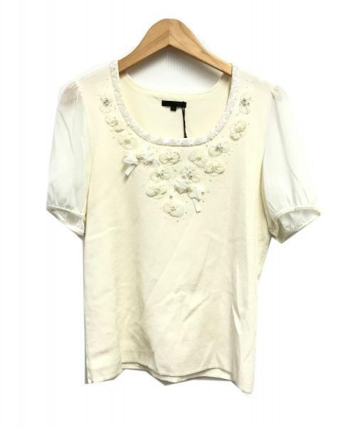 TO BE CHIC(トゥービーチック)TO BE CHIC (トゥービーチック) 半袖ニット ホワイト サイズ:SIZE5 未使用品の古着・服飾アイテム