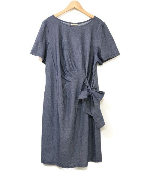 Rose Tiara(ローズティアラ)Rose Tiara (ローズティアラ) リボンワンピース ネイビー サイズ:Mの古着・服飾アイテム