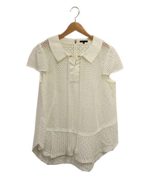 TO BE CHIC(トゥービーシック)TO BE CHIC (トゥービーチック) カットワークブラウス ホワイト サイズ:46の古着・服飾アイテム