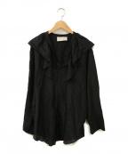 AEWEN MATOPH(イウエン マトフ)の古着「フリルリボンブラウス」 ブラック