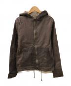 sisii(シシ)の古着「レザーフーデッドジャケット」|グレー