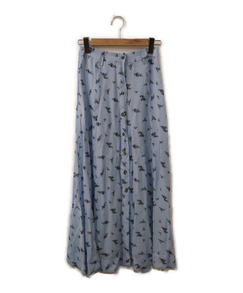 GANNI(ガニー)GANNI (ガニー) レーヨンジョーゼット プリントマキシスカート スカイブルー サイズ:36の古着・服飾アイテム
