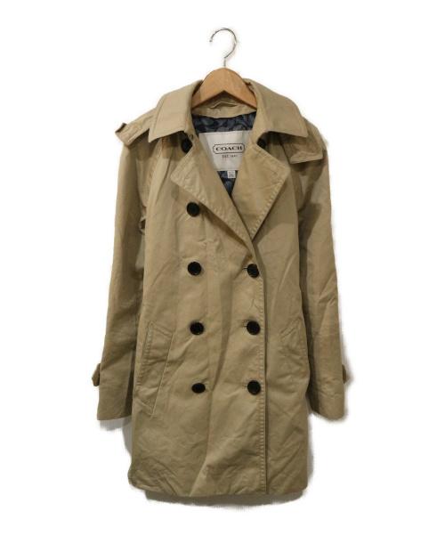 COACH(コーチ)COACH (コーチ) フーデッドトレンチコート ベージュ サイズ:XSの古着・服飾アイテム