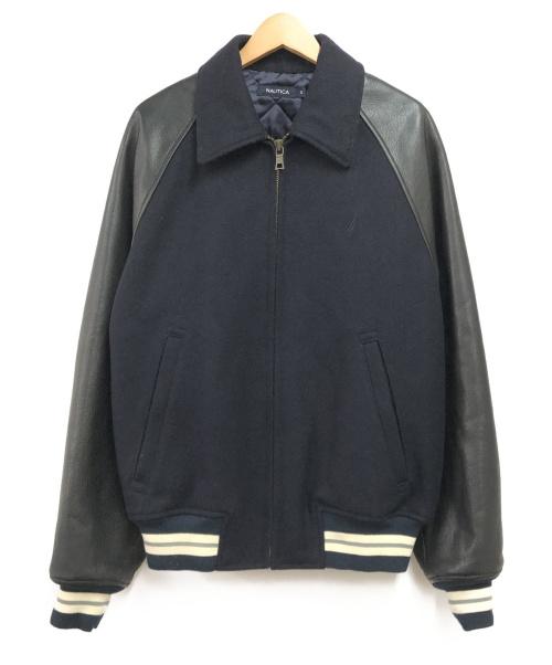 NAUTICA(ノーティカ)NAUTICA (ノーティカ) レザースリーブ中綿スタジャン ネイビー サイズ:Sの古着・服飾アイテム