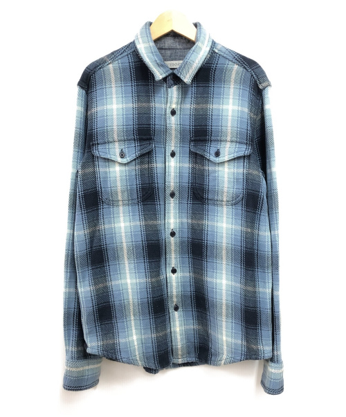 Outer known(アウターノウン)Outer known (アウターノウン) ヘビーオンスネルシャツ ブルー サイズ:Sの古着・服飾アイテム