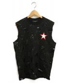 GIVENCHY(ジバンシィ)の古着「スターノースリーブカットソー」|ブラック