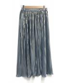 Ravissant Laviere(ラヴィソン ラヴィエール)の古着「箔ストライププリーツスカート」|ブルー×ゴールド