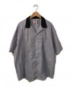 son of the cheese((サノバチーズ))の古着「Stripe Cleric Shirt」|ブルー×ブラック