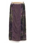 ETRO(エトロ)の古着「切替ベロアスカート」|パープル×ブラウン