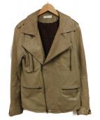()の古着「レザーライダースジャケット」|ベージュ