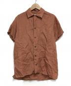 INDIVIDUALIZED SHIRTS(インディビジュアライズドシャツ)の古着「オープンカラーリネンシャツ」|ブラウン