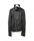 RICK OWENS(リックオウエンス)の古着「シングルレザージャケット」|ブラック