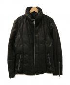 ISAMU KATAYAMA BACKLASH()の古着「バッファローレザーダウンジャケット」|ブラック