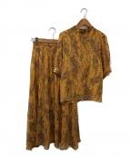 MICHEL KLEIN(ミッシェルクラン)の古着「ボタニカルプリント楊柳セットアップ」|イエロー