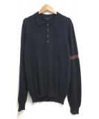 GUCCI(グッチ)の古着「シェリーラインL/Sニットポロシャツ」|ネイビー