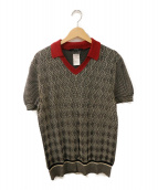 ()の古着「ニットポロシャツ」|ブラック×レッド