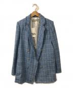 ZARA(ザラ)の古着「ツイードダブルジャケット」|スカイブルー