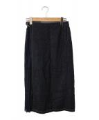 K.T KIYOKO TAKASE(ケーティー キヨコタカセ)の古着「綿麻デニムアシンメトリーラップスカート」|インディゴ