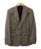 GUCCI(グッチ)の古着「レザーパイピングテーラードジャケット」|グレー