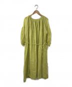 mina perhonen()の古着「リネンギャザーワンピース」|グリーン