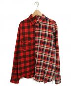 NOMA t.d.(ノーマティーディー)の古着「切替チェックシャツ」 レッド