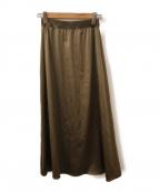 自由区(ジユウク)の古着「ロングサテンスカート」|オリーブ