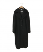 MaxMara()の古着「ウールロングメルトンコート」|ブラック