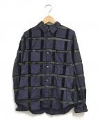 ROBE DE CHAMBRE COMME DES GARC(ローブドシャンブル コムデギャルソン)の古着「ベロアチェックデザインシャツ」 ネイビー×ブラック