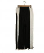 TARO HORIUCHI(タロウホリウチ)の古着「ワイドパンツ」 ホワイト×ブラック