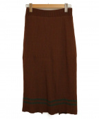 MUVEIL(ミュベール)の古着「リブニットラインスカート」|ブラウン
